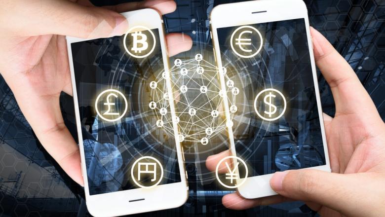 Stilisierte Darstellung der globalen Vernetzung mehrerer Währungen