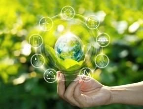Verschiedene Symbole für Nachhaltigkeit und Öko vor grünem Hintergrund